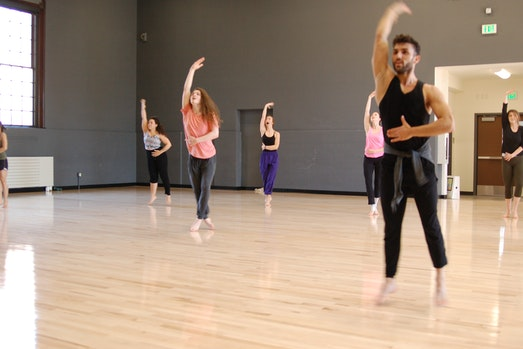 Flynn masterclass at UVM dance studio with visiting artists.