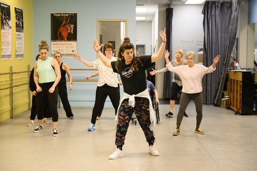 Flynn dance class in Chase Studio with teaching artist Rose Bedard.